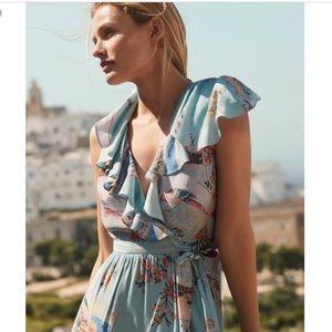 {Anthropologie} Maeve Rosalia Floral Wrap Dress